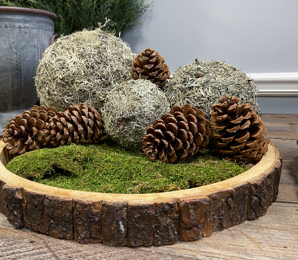 """Largest gray ball shown is the 8 inch. The other items pictured (6"""" and 4"""" grey balls, preserved sheet moss, maritima natural pine cones and wood bark round trays are sold separate."""