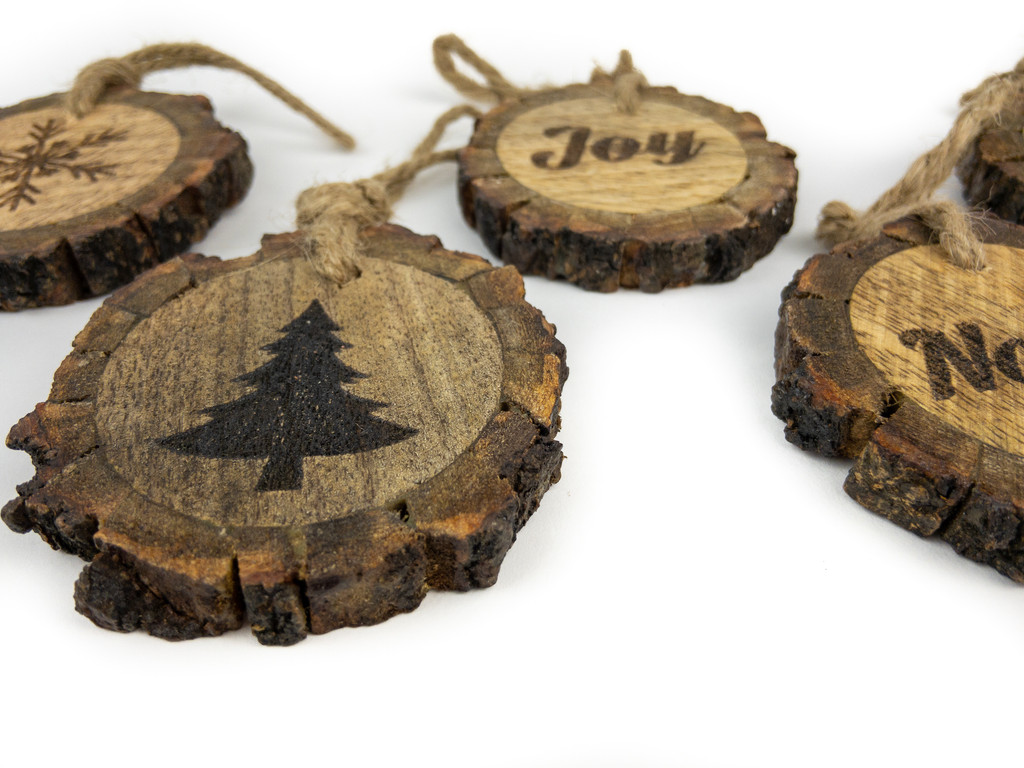 """WOOD BARK SM SLICES - 2.75"""" - 6 PC ASSORTED"""