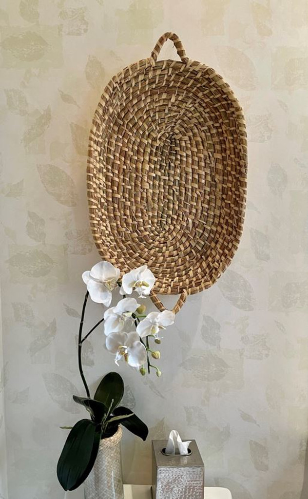 SEAGRASS OVAL TRAY W/HANDLES