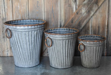 "GALVANIZED BUCKET SET/3 - 13.3"", 10.6"", 8.6"""