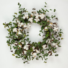 FAUX COTTON EUCALYPTUS WREATH - 20""
