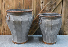 "GALVANIZED TALL URN SET/2 - 13 X 16"", 11.8 X 13.75"""