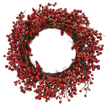 "RED BERRY VINE 24"" WREATH"