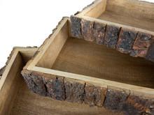 "WOOD BARK BOXES S/3 - RECTANGULAR - 11, 13, 16"""