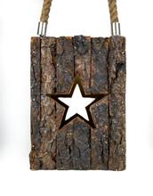 "WOOD BARK STAR LANTERN 6X5.5X8"""