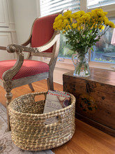 SEAGRASS OVAL TALL BASKET W/HANDLES