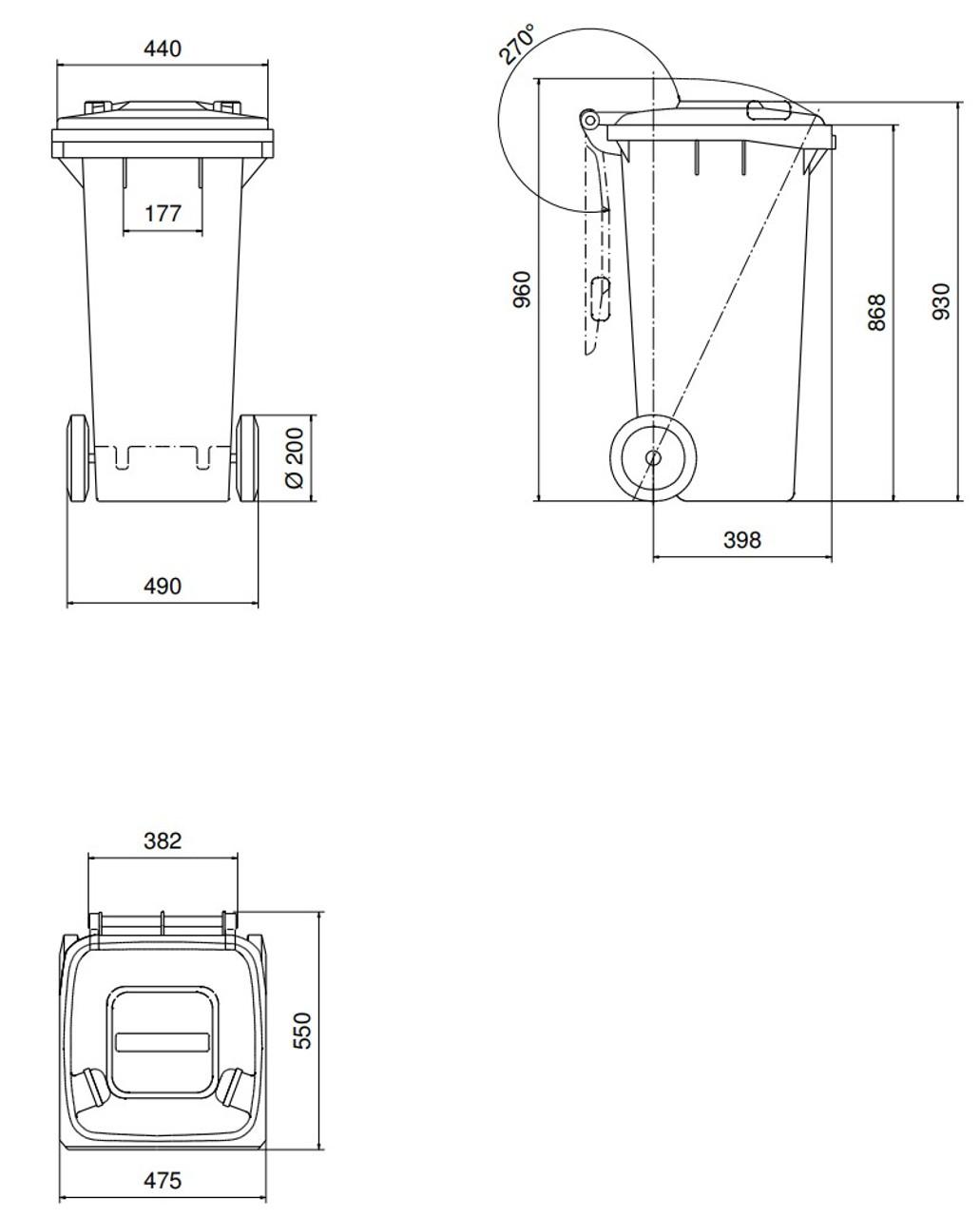 120 Litre Wheelie Bin Dimensions