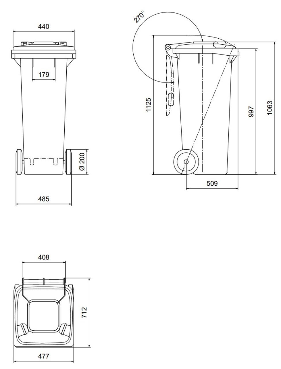 180 Litre Wheelie Bin Dimensions