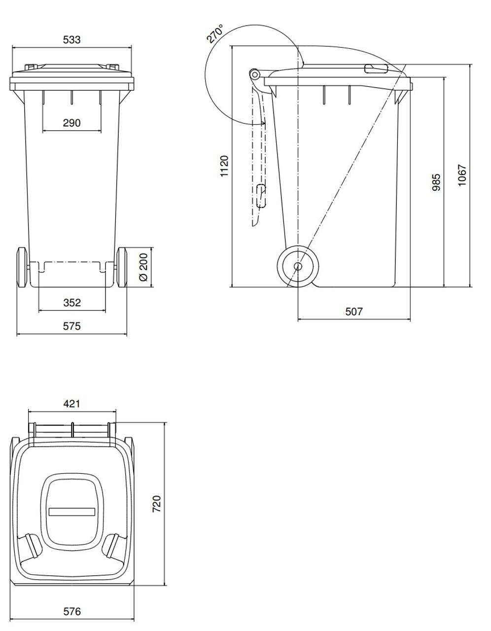 240 Litre Wheelie Bin Dimensions