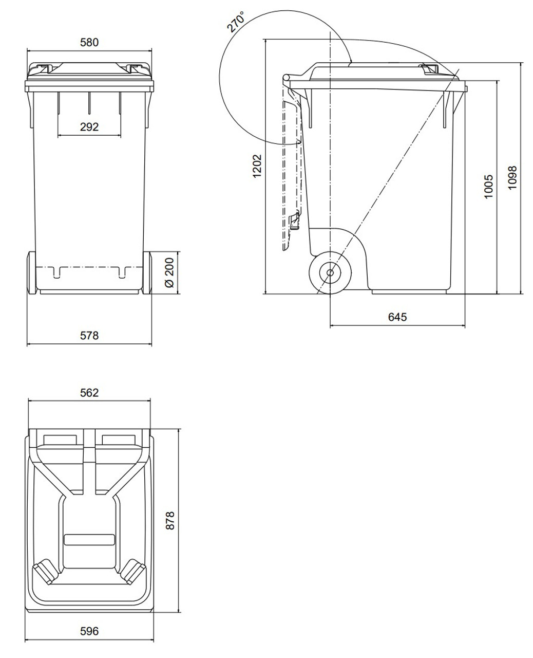360 Litre Wheelie Bin Schematic