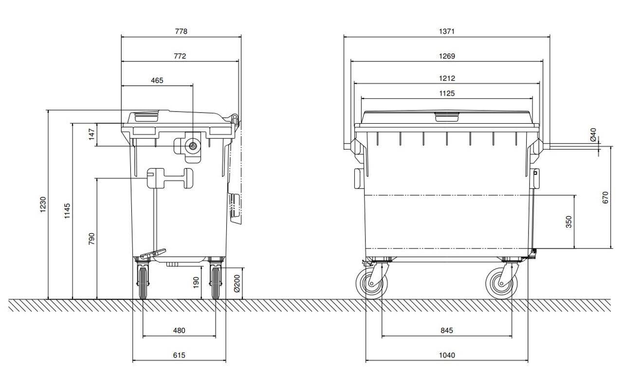 660 Litre Wheelie Bin Dimensions