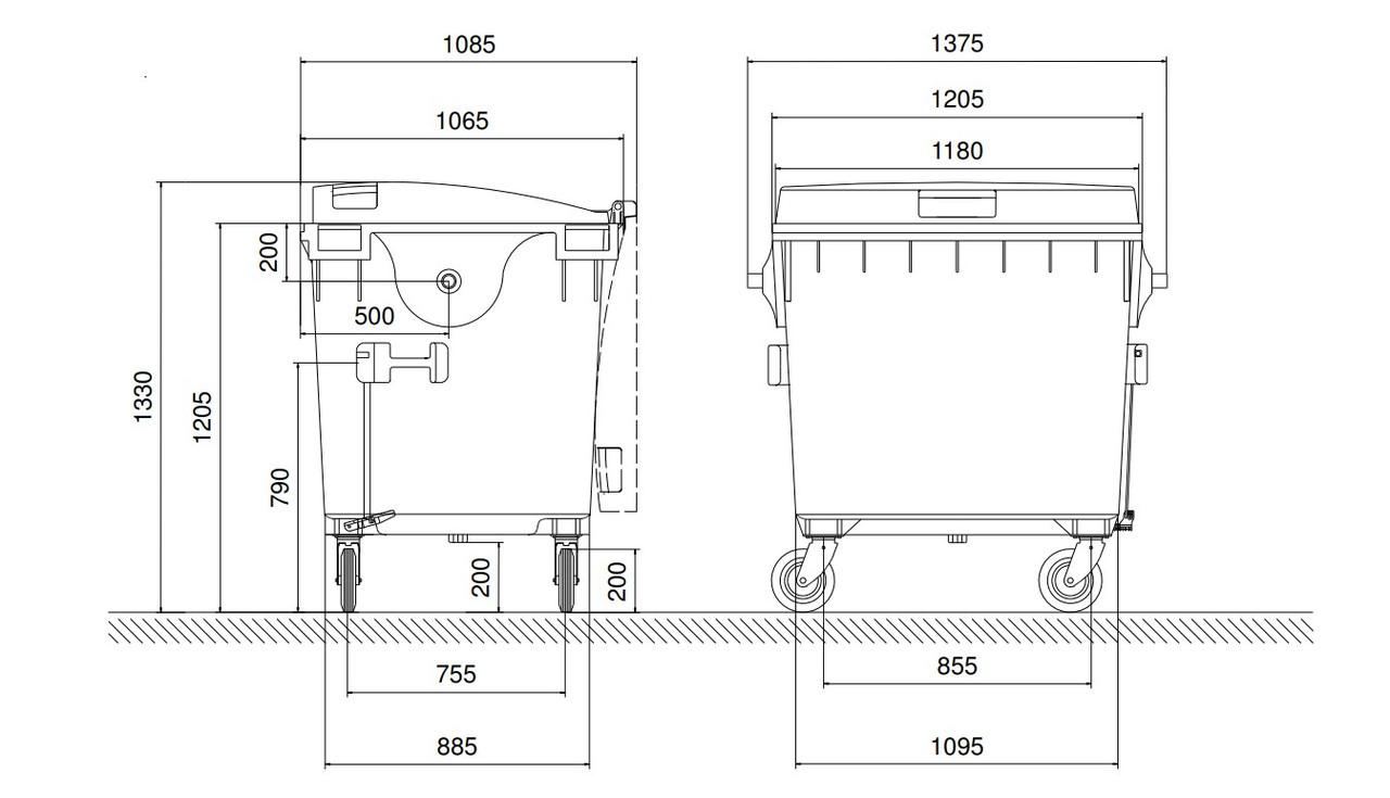 1100 Litre Wheelie Bin Dimensions