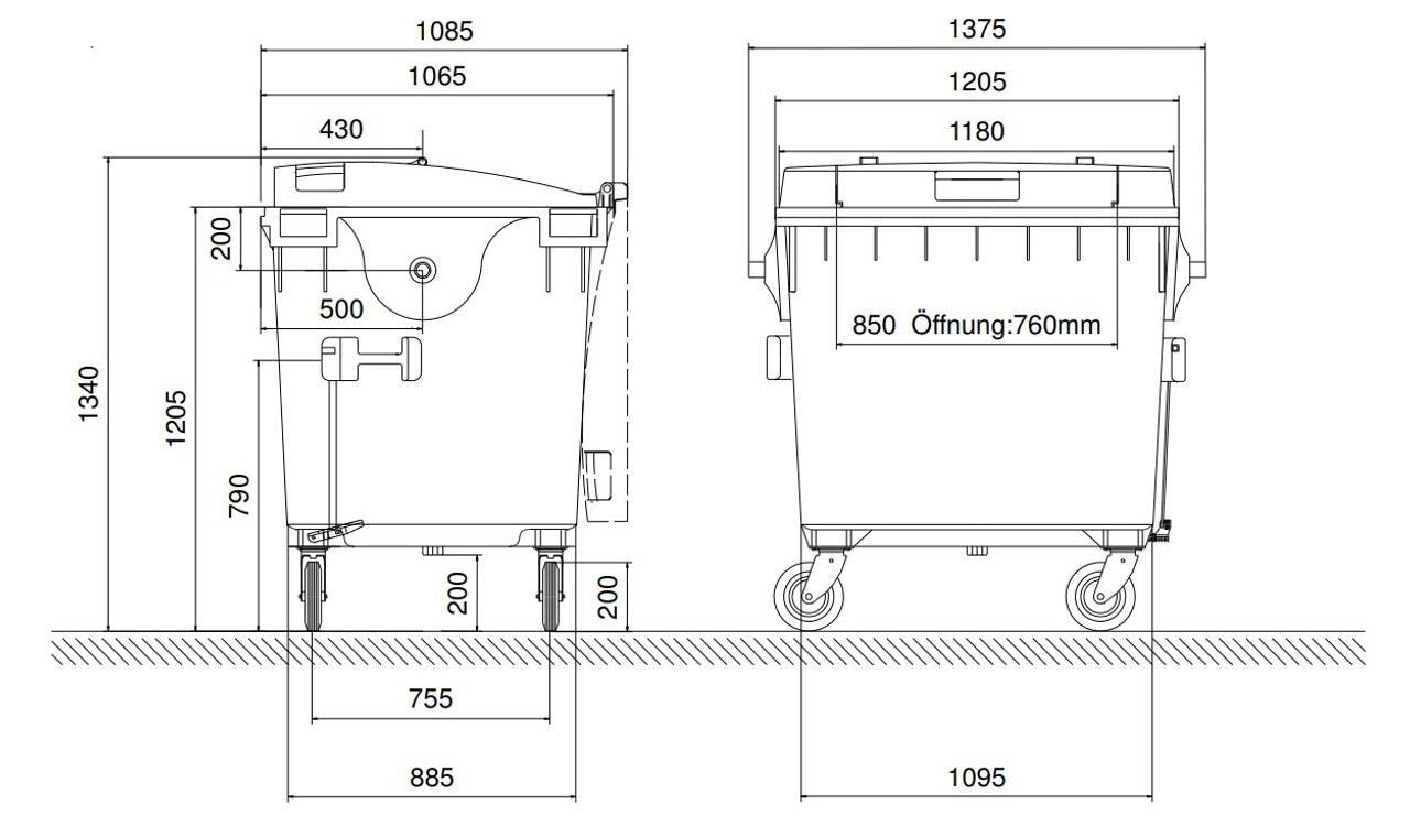 1100 Litre Drop Front Wheelie Bin