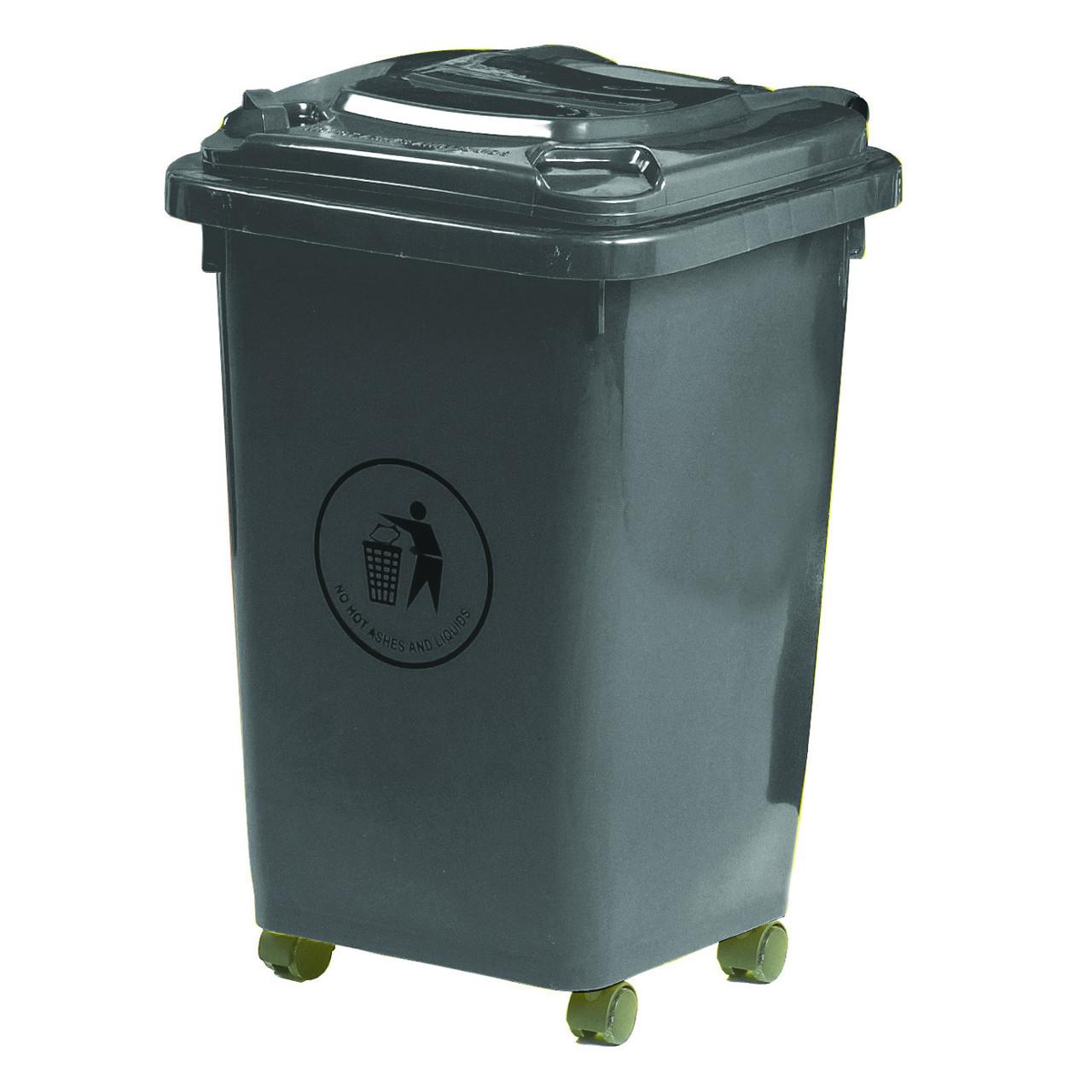50L Wheeled Litter Bin - Dark Grey