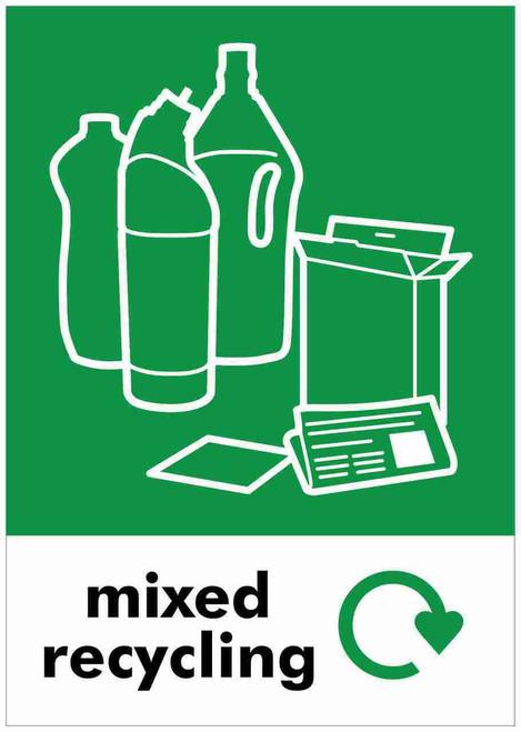 Large A4 Wheelie Bin Sticker - Mixed Recycling