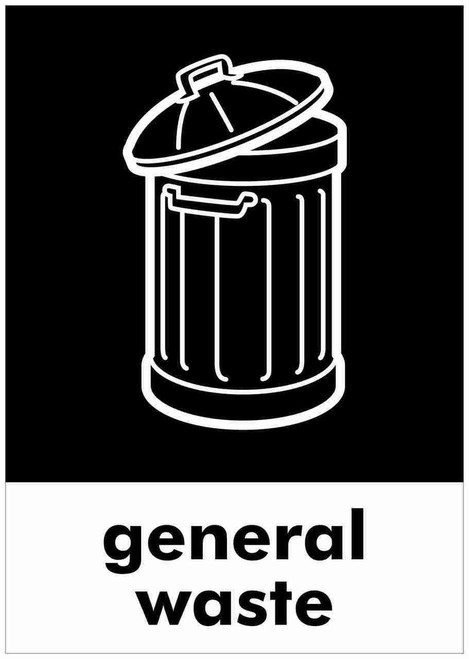 Large A4 Wheelie Bin Sticker - General Waste