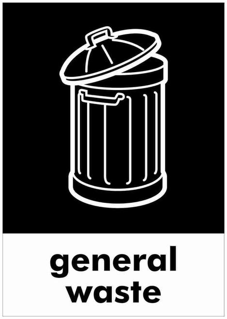 Large A4 Wheelie Bin Sticker - General Waste