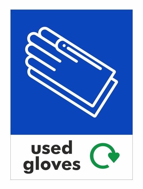 Large A4 Wheelie Bin Sticker - Used Gloves