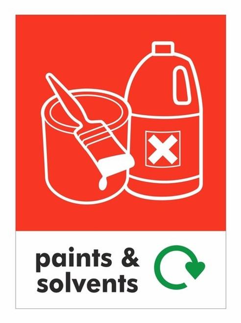 Large A4 Wheelie Bin Sticker - Paints & Solvents