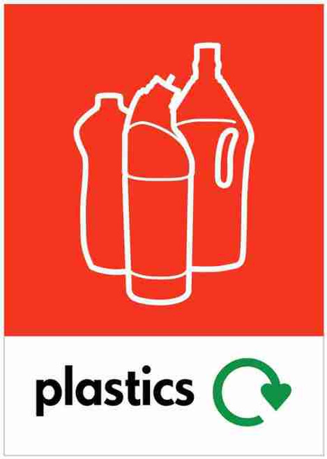 Large A4 Wheelie Bin Sticker - Plastic Bottles