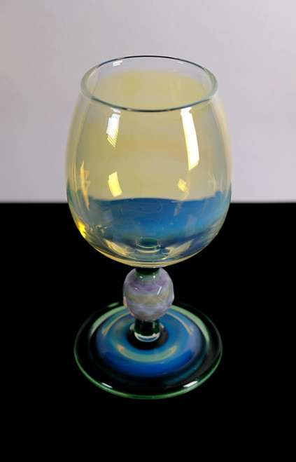 """8"""" Large Silver Fumed & Mighty Moss Drinking Glass Accents w/ Faceted Marble"""