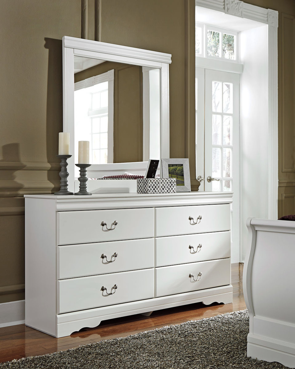 The Anarasia White Dresser Mirror Available At Regal House Outlet Serving New Bedford Ma And Surrounding Areas