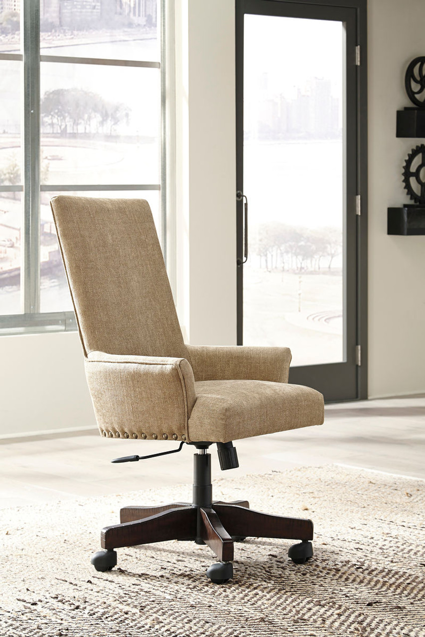 Pleasing Baldridge Light Brown Upholstered Swivel Desk Chair Customarchery Wood Chair Design Ideas Customarcherynet