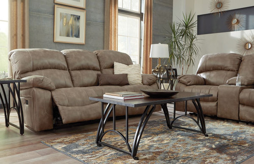 The Dunwell Driftwood Power Reclining Sofa With Adjustable Headrest