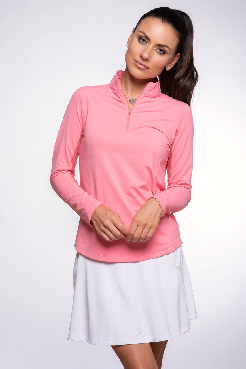 d175ee7713b IBKUL solid mock neck sun protective shirt with UPF50 and IceFil in  Watermelon