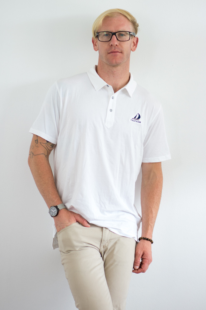 57ea69792 TASC Air Stretch Polo in White | Chatham embroidered on the front | Island  Pursuit