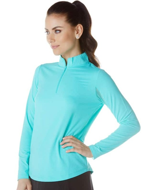 Sun Protection Long Sleeve Zip Mock 80000 IBKUL UPF 50