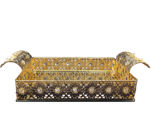 Beautiful Floral Tray in Gold  Available at AttarMist.com