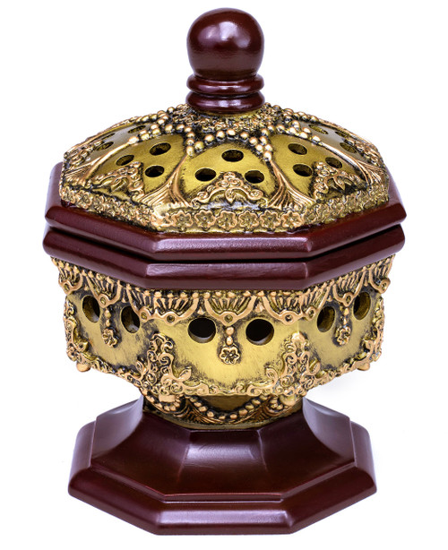 Luxury Charcoal Incense Burner - AttarMist.com Octagon Bronze