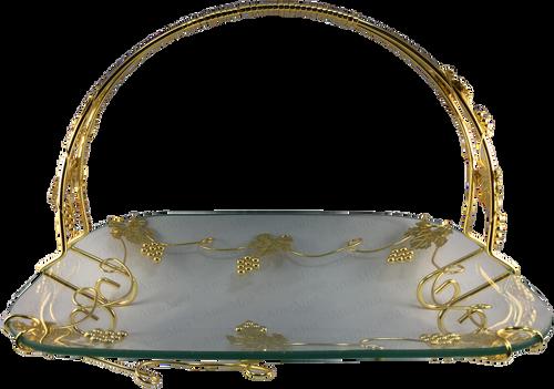 Elegant Glass tray with grape vine metal work - AttarMist.com