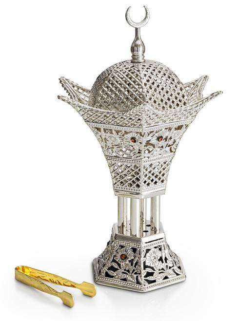 Incense Charcoal Burner Mubkhara - Hexagon Crescent - Silver