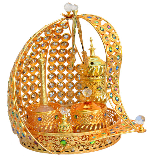 Gold Attar & Bakhoor New Ship Tray Set Available at www.AttarMist.com