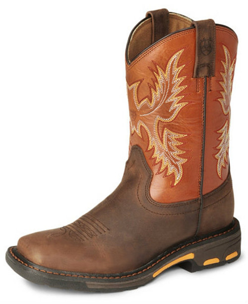 ARIAT KIDS WORKHOG WIDE SQUARE TOE BOOTS
