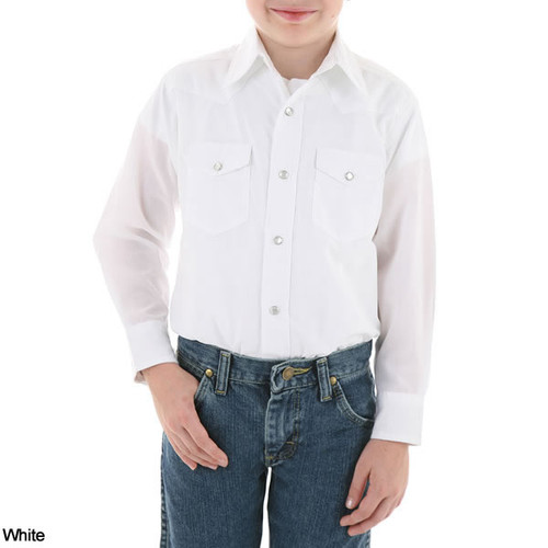 Boys Wrangler Dress Western Solid Snap Long Sleeve Shirt