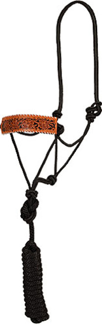 TOOLED LEATHER BRONC-STYLE ROPE HALTER