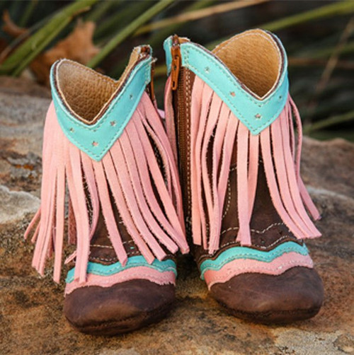 """""""LYDDIE"""" PINK FRINGE FOREVER BOOTS BY SHEA BABY"""