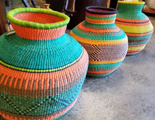 COLORFUL HAND WOVEN LARGE BASKETS