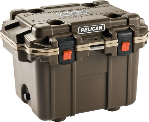 50 QT PELICAN BROWN & TAN ELITE COOLER FROM DENNARDS
