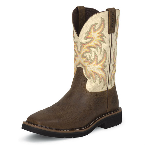 Old West Kids Red And Tan Square Toe Boot