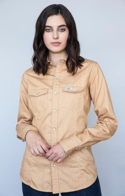 KIMES RANCH FOXY BROWN BUTTON UP