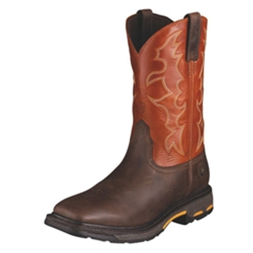 MEN'S ARIAT WORKHOG DARK EARTH STEEL TOE WORK BOOT - FREE SHIPPING