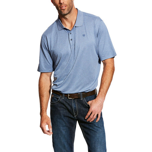 ARIAT FADE TEK POLO BRIGHT INDIGO STRIPE