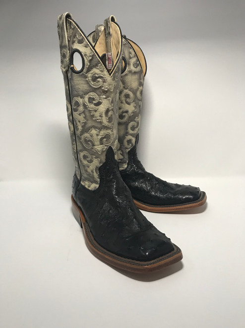 ANDERSON BEAN WOMENS BLACK FULL QUILL FLORAL BEIGE BOOTS