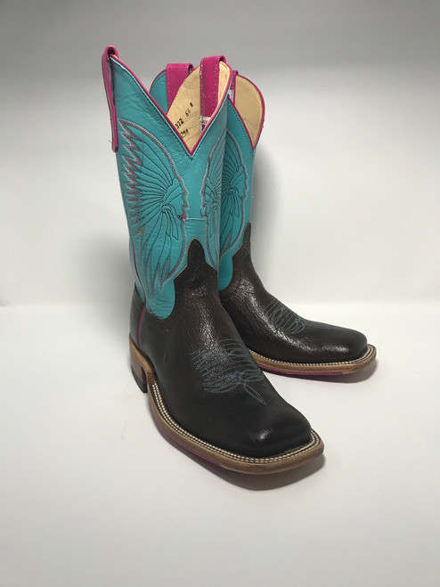 ANDERSON BEAN WOMENS  EMERALD BLUE SMOOTH OSTRICH BOOTS