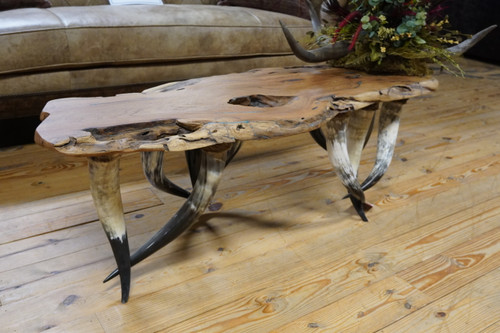 MESQUITE LIVE EDGE W/TURQUOISE INLAY ANTLER TABLE