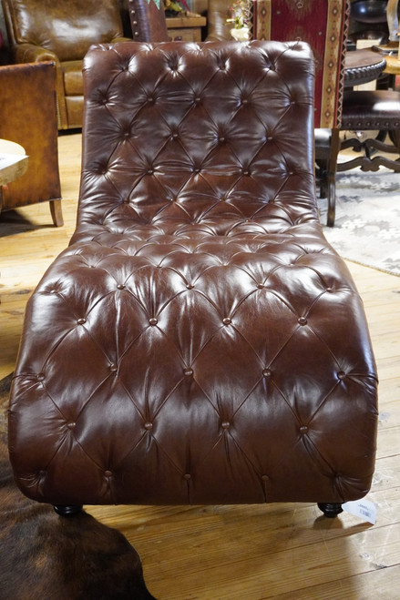 BROWN TUFTED CHAISE WITH BROWN CROC INLAY